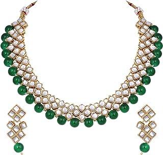 Aheli - Set di collane e orecchini indiani etnici indiani da indossare per feste di matrimonio, per donne e ragazze