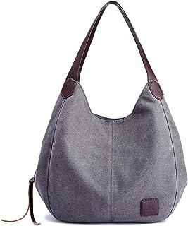 Canvas Handtasche Fashion Damen Schultertasche Multi-Beutel Tasche Henkeltaschen Shopper, Grau