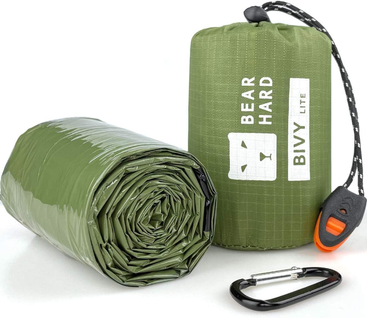 Bearhard Saco de dormir de emergencia para acampada, senderismo y refugio de emergencia [[2 Paquete] Camo Bivy -12x7.5x6.5cm ]