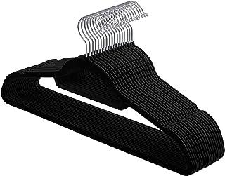 SONGMICS Cintres en Velours, Lot de 20, Crochet pivotant à 360°, Antidérapant, pour Costumes Chemises Robes Cravates, Noir...