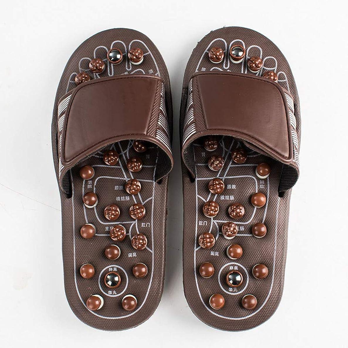 鎮痛剤細胞洞察力足のマッサージスリッパ、男性と女性のフットケアサンダル健康マッサージャーの靴ホーム屋内スリッパは、血液循環を促進する (色 : Brown, サイズ さいず : 41-41.5EU)