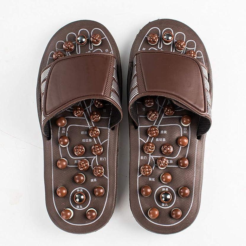 コイルチョップデコラティブ足のマッサージスリッパ、男性と女性のフットケアサンダル健康マッサージャーの靴ホーム屋内スリッパは、血液循環を促進する (色 : Brown, サイズ さいず : 41-41.5EU)