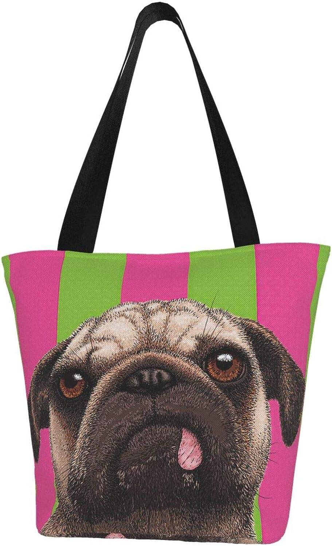 Cool Funny Pug Dog Green And Pink Stripes Themed Printed Women Canvas Handbag Zipper Shoulder Bag Work Booksbag Tote Purse Leisure Hobo Bag For Shopping