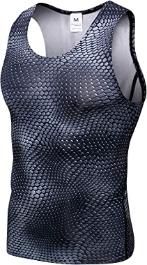 Queerier Men's Compression Tank top Baselayer Dry Fit Athletic Cool Dry Sports Lose Weight Vest