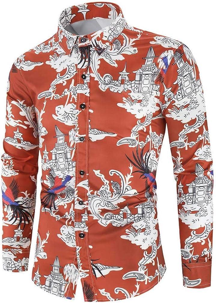 Mens Spring Long Sleeve Vintage Button Down Shirts Ethnic Style Collar Printed Shirt Slim Fit Dress Shirt