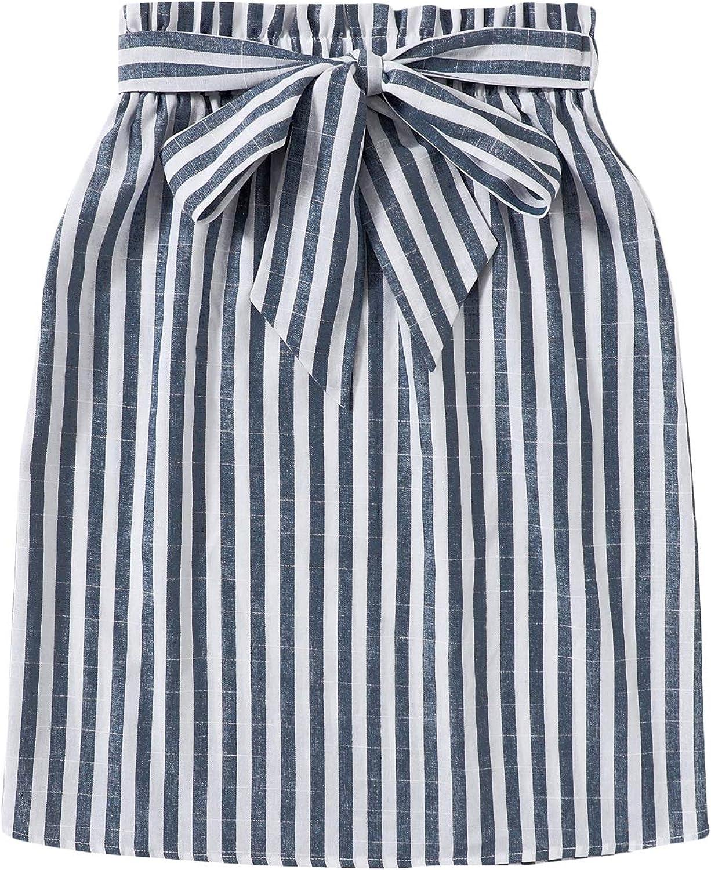 SweatyRocks Women's Paperbag Waist Stripe Print A Line Short Skirt with Belt