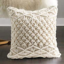 FLBER Macrame Pillow Woven Decorative Throw Pillow,15.8x15.8