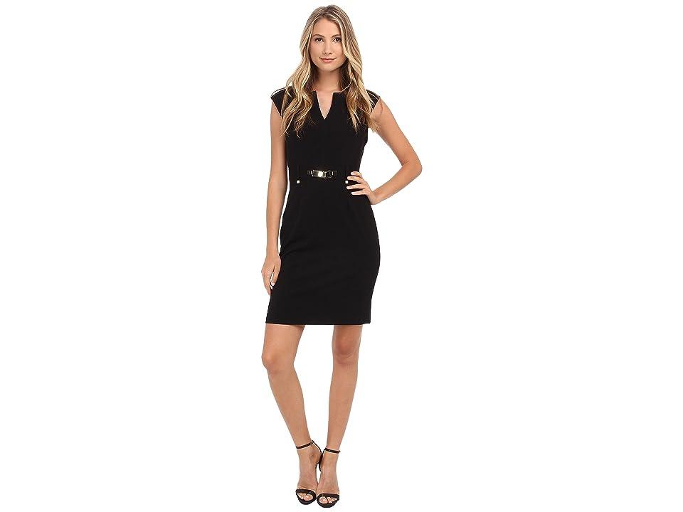 Calvin Klein Shift Dress w/ Gold Hardware (Black) Women