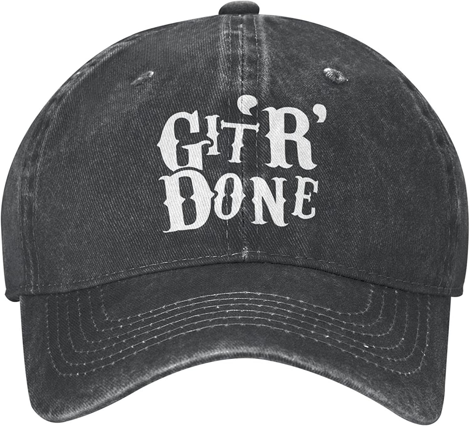Get Er Done Funny Hat Baseball Cap Dad and Mom Caps Trucker Hats Adjustable Unisex Cap Low Profile Comfortable Material Black