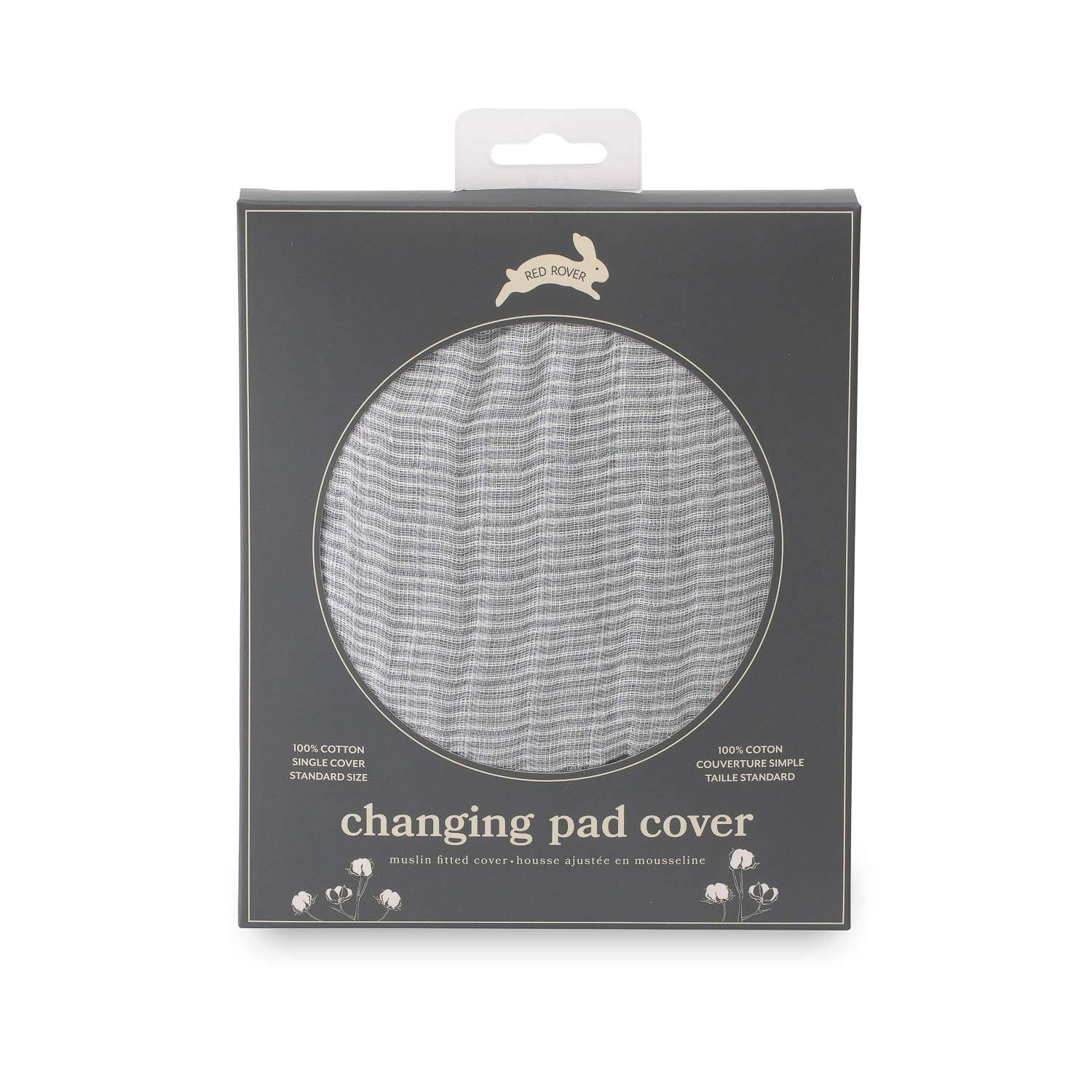 """Red Rover Kid Muslin Changing Pad Cover – 16"""" x 32"""" - 100% Cotton – Machine Washable – Standard Size - Stitched Holes for Safety Straps – Lightweight & Breathable – Unisex (Grey Micro Stripe)"""