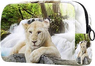 Damska torba do makijażu, kosmetyczka do przechowywania biały lew las na podróż, organizer na kosmetyki