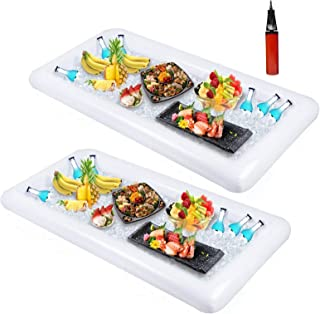 Sponsored Ad - 2 PCS Inflatable Serving/Salad Bar Tray Food Drink Holder - BBQ Picnic Pool Party Buffet Luau Cooler,with a...