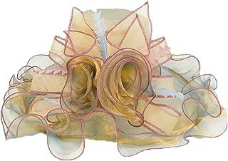 JOKHOO Women Foldable Organza Church Derby Hat Ruffles Wide Brim Summer Bridal Cap