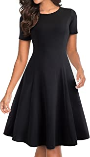 Women's Short Sleeve Modest Flare Party Aline Dress A110