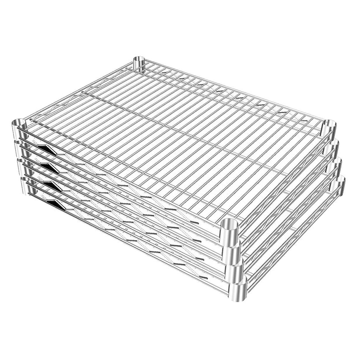 容器くびれた組み込むルミナス ポール径25mm用パーツ 棚板 スチールシェルフ(耐荷重250kg)ワイヤー奥行方向 4枚セット(スリーブ無し) 幅61×奥行46cm SR6045*4