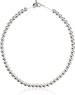 Chaps Women 18Inch 8Mm Metal Bead قلاده گردنبند ، نقره ای