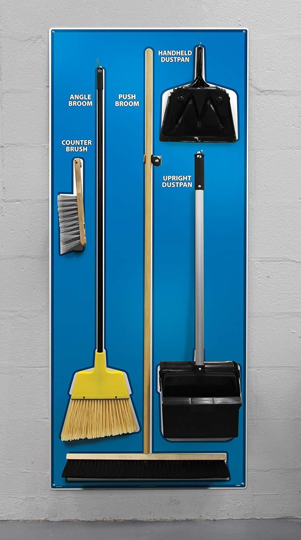 NMC SBK102AL 5S Janitorial Shadow Board, Blue/White, 68