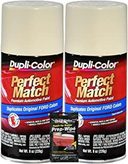 Dupli-Color Wimbledon White Perfect Match Automotive Paint for Ford Vehicles - 8 oz, Bundles with Prep Wipe (3 Items)