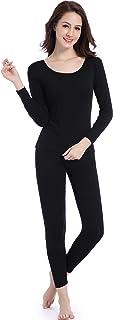 طقم ملابس داخلية حرارية قابلة للتمدد للنساء بقبة دائرية بدون طوق بتصميم ناعم وطبقة أساسية وبنطال ضيق طويل