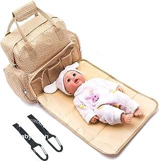 BabyMoon 5 in 1 Polka Dotes Waterproof Diaper Bag - Deep Beige