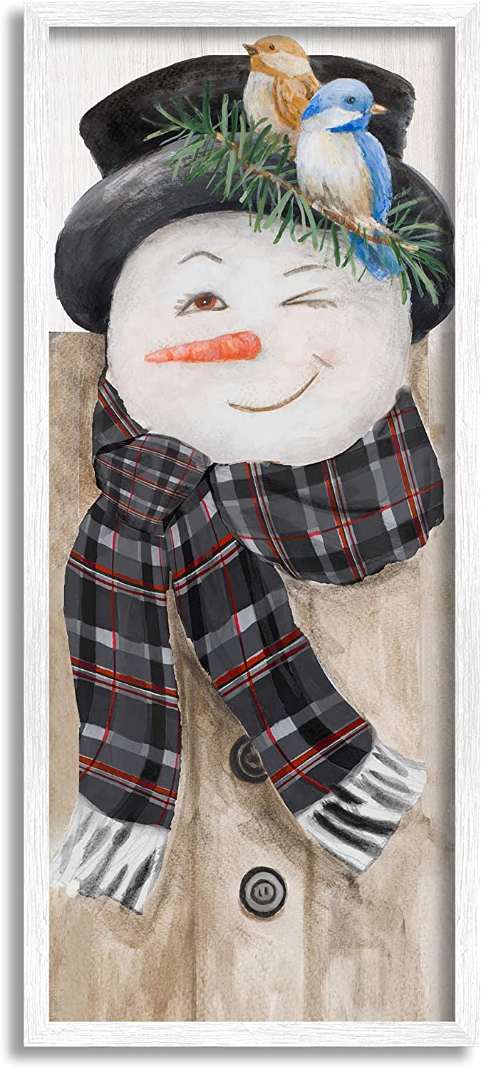 Stupell Industries Snowman Wink Winter Birds Rustic Plaid Scarf, Designed by Lanie Loreth White Framed Wall Art, 10 x 24, Multi-Color