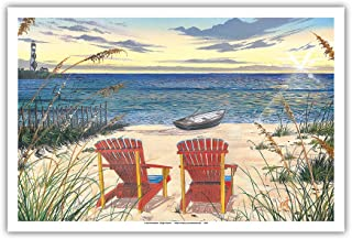 Pacifica Island Art Outer Bank Sunrise - Beach Chairs & Sunset Ocean View - From an Original Color Painting by Scott Westmoreland - Master Art Print - 12 x 18in