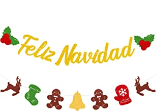 Best MAGBEA Feliz Nacudad Merry Christmas Banner Mexican Spanish Christmas Winter Mantle Home Decoration Santa Festival Party Decor for Christmas Themed Holiday Party Review