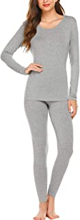 Women's 2 pc Ultra Soft Thermal Underwear, Top & Bottom Fleece Lined Long Johns