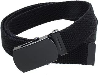 Kids Canvas Web Belt Flat Black Buckle/Tip Solid Color 44
