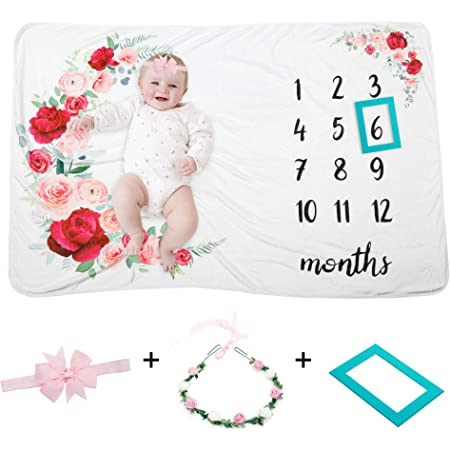 Calendar First Year Newborn Photo Prop Monthly Newborn Photography Flowers Girl Kids Personalized Baby Milestone Fabric in Woodland Blooms
