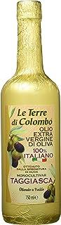 Le Terre di Colombo – Aceite de oliva virgen extra Taggiasca, botella envuelta en papel dorado, 750 ml