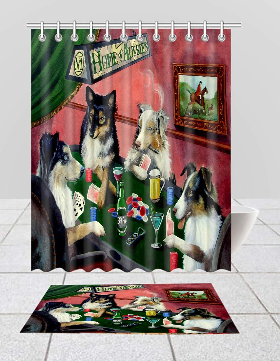 Home of Australian Shepherd Dogs Shower OFFicial mail order Curtain Poker Max 63% OFF Playing