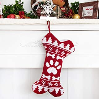 2019 New Knitted Dog Christmas Stockings for Pets Extra Large Ornament Decorations for Family Holiday Season Decor Christmas Bags-Christmas Parent-Child Cute Bone One Claw (1 Pack)