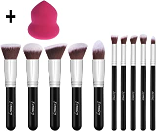 Makeup Brushes Set 10pcs +1 Pcs Beauty Blender Sponge Cosmetic Brushes Eye-shadow Eyeliner Blush