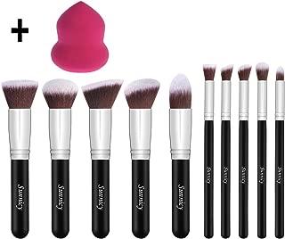 Makeup Brushes Set 10pcs +1 Pcs Beauty Blender Sponge Cosmetic Brushes Eye-shadow Eyeliner Blush