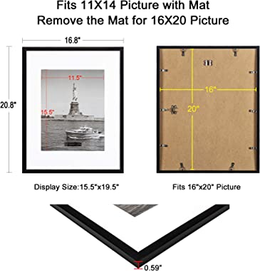 ENJOYBASICS 16x20 Picture Frame Black Poster Frame,Display Pictures 11x14 with Mat or 16x20 Without Mat,Wall Gallery Photo Fr