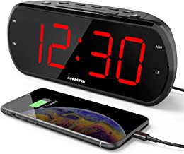 "ANJANK 7"" Large LED Display Digital Alarm Clock Radio with 6 Level Dimmer,USB Charger,FM Radio with Sleep Timer,Adjustable..."