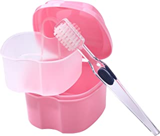 Bearals Denture Box, Denture Cup, Denture Case with Brush, Denture Bath Cleaning Soaking Cup with Strainer, Mouth Guard Night Gum Retainer Container (Pink)