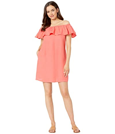 Tommy Bahama Linen Dye Off the Shoulder Dress Cover-Up (Paradise Coral) Women