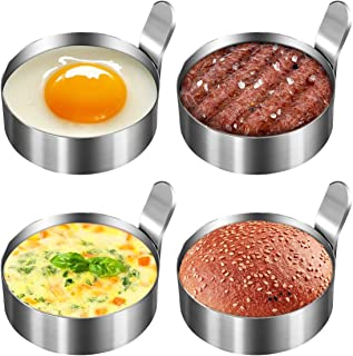Koicaxy Egg Ring, Stainless Steel Metal Egg Mold Cooking Rings Egg Shaper Pancake Ring Omelet Mold Kitchen Cooking Tool For Fried Egg Biscuits McMuffin Sandwiches, Egg Maker Molds 4 Pack 3 Inch