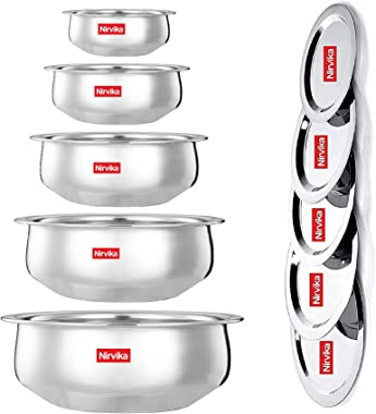 Nirvika Steel Handi Set Stainless Steel Venna chetty/5pc pcs Piece with lid Serving,Cookware Set Bowl |Set 5-Pieces