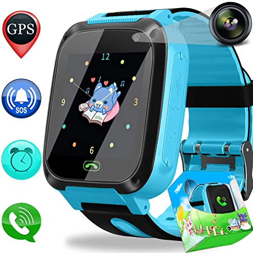 Duperym Kids Smart Watch Phone GPS Tracker for Girls Boys with Cellphone SOS Anti-Lost
