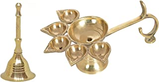 BAAL Pure Brass Perfect Grip Handle Panch Arti Diya with Brass Handheld Bell Ghanti for Temple Arti Pooja 30 Grams Pack of 1
