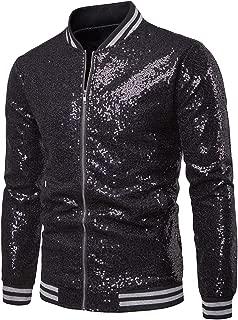 Folima Mens Sparkle Sequin Zipper Front Baseball Bomber Jacket Party Costume Jacket