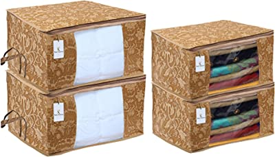 Heart Home Metallic Printed Non Woven 2 Pieces Saree Cover and 2 Pieces Underbed Storage Bag, Cloth Organizer for Storage, Blanket Cover Combo Set (Beige) - CTHH17942