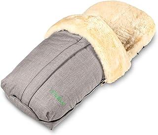 Fellhof 108307 Lammfell Fußsack Cortina, OEKO TEX® Standard 100 zertifiziert, 45x97 cm, wind  und wasserdicht, waschbar bis 30°C, Öffnung am Fußende (black melange)