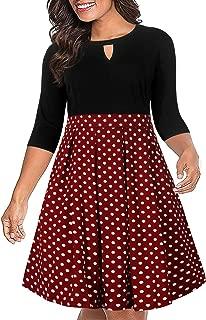 Nemidor Women's Vintage 3/4 Sleeve Patchwork Plus Size Flared Swing Party Dress with Pocket NEM223