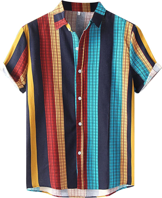 DIOMOR Fashion Mens Summer Blouses Vertical Stripe Plaid Turn-Down Short Sleeve Button-Down Cotton Casual Shirts M-XXXL