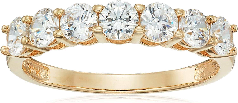 10k Gold Round-Cut 7-Stone Ring made with Swarovski Zirconia