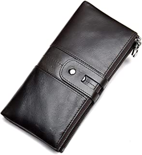 Genuine Leather Woman Wallet, Fashion Multifunctional Wallet with RFID Anti-theft Brush, Large Capacity, Long 19.2 * 10 * 2cm